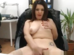 Busty Teen Shows Off In Office On Webcam