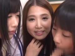 Superb Asian schoolgirls enjoy a group sex party