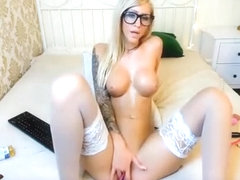 Sexy Blonde Cam Girl with Tattoos and Stockings AMAZING
