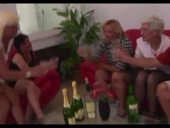 4 Grannies and a Juvenile Mate Engulf Fuck and Cum