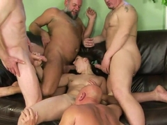 Dirty group sex with petite Agata that gets bukkake after anal drilling