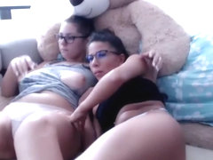 girl getting naked when her best friend sits next to her watching