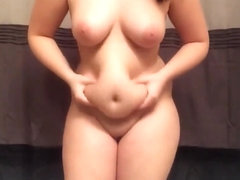 Naked Fat Chick Playing With Her Big Tummy