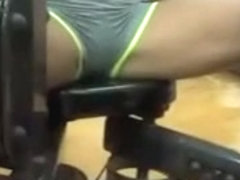 Hot gym girl cameltoe and exercise