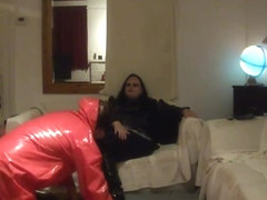 Bbw mistress lydia has slave lick boots and feet clean