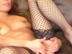 Sexy Charmane Star Keeps Her Fishnets On While Fingering On Cam