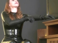 Putting Leather boots sexy gloves latex catsuit