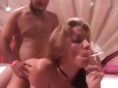 Trashy blond smoking sex