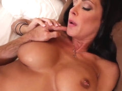 Stunning brunette Jessica Jaymes performs sexual fantasies in dreams and reality