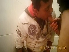 Gay oral quickie in the restroom