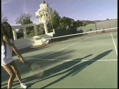 2 sexy latinas getting screwed on the tennis court
